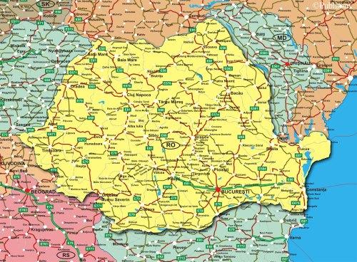 Mapa de carreteras  Rumania