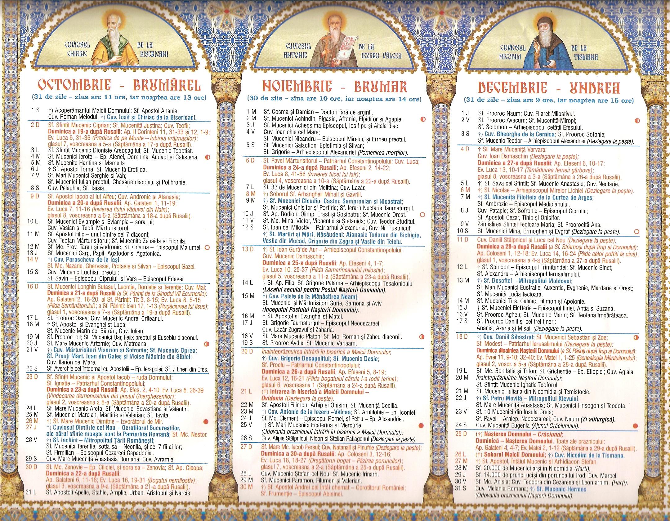 calendare crestin ortodox 2016